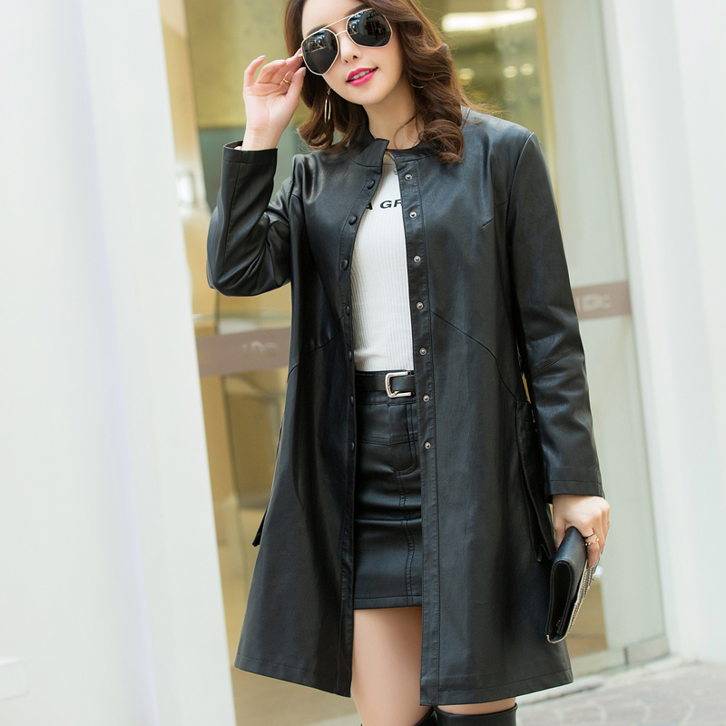 2018 Autumn Winter New Women Pu Faux   Leather   Jacket Female Elegant Long Trench Coat Belted Ladies Casual Outwear Clothing 5XL