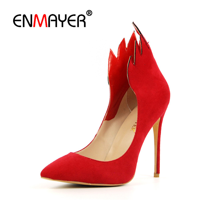 ENMAYER Fire Shoes Woman High Heels Pumps Pointed Toe Shallow Plus Size 35-46 Black Red Party Wedding Shoes Summer Top Quality enmayer pointed toe summer shallow flats slip on luxury brand shoes women plus size 35 46 beige black flats shoe womens