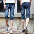 Бесплатная доставка 2016 Волна пляжные шорты печатных джинсы для мужчин шорты случайный мужчина тонкий капри джинсы короткие брюки