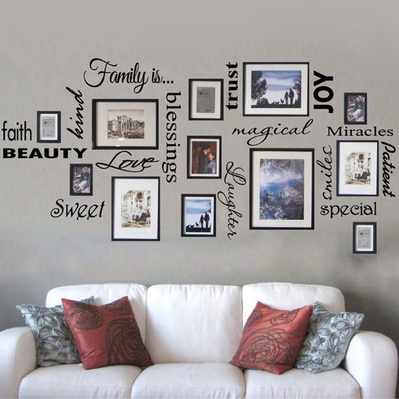 Free Shipping Family Is Vinyl Wall Lettering Quote Art Decor Room Sticker Frames Not Included F1001b In Stickers From Home Garden
