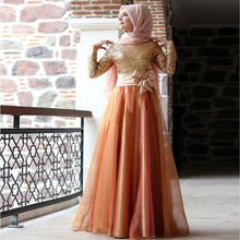 Long Sleeve Muslim Evening Dress For Prom Turkish Islamic Dresses With Hijab Gece Elbisesi Long Sequin Women Clothing Abendkleid