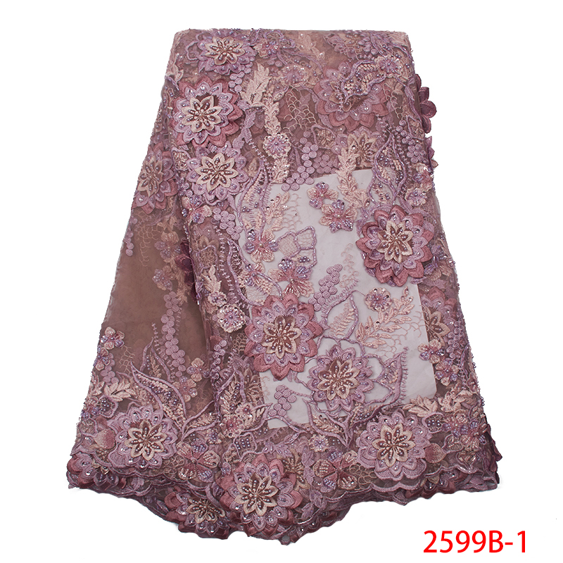 Hot Sale 3D Flower Beads Lace Fabric 2019 High Quality Tulle Mesh Lace Fabrics African Embroidery Applique For Party KS2599B-1