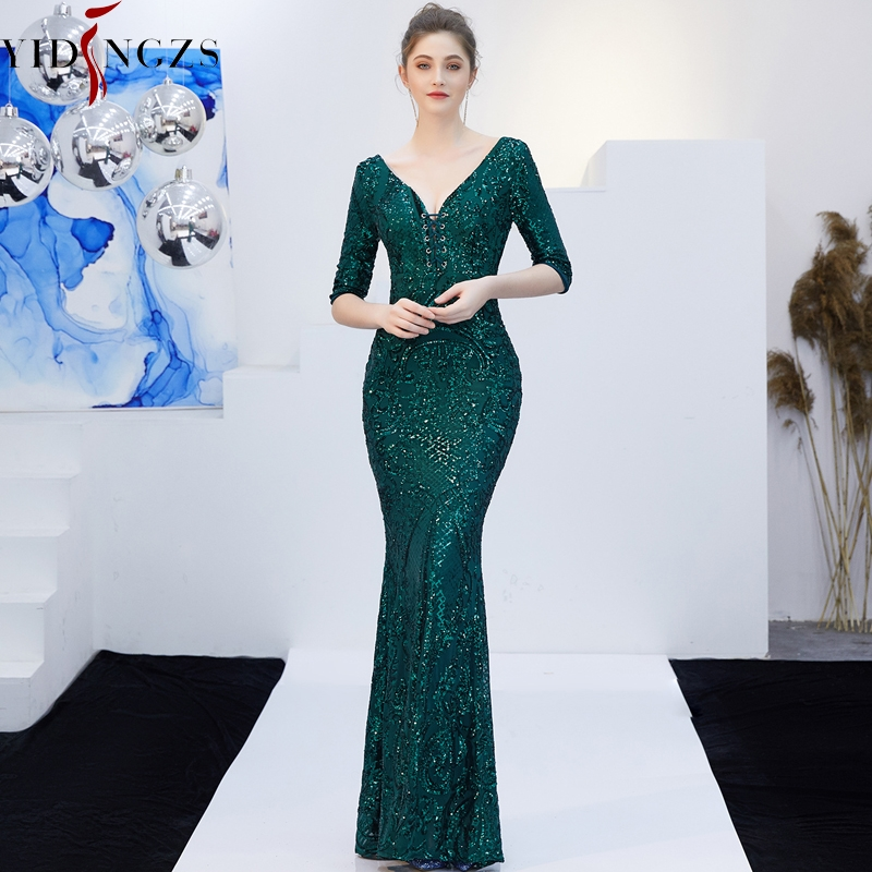 V Neck Green Sequins Party Evening Dress YIDINGZS Half Sleeve Sexy Long Evening Dress Robe De Soiree 2019