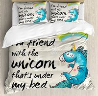 Duvet Cover Set, Unicorn Dreaming with Rainbow Magical Myst Epic Creature Pony Grace Artsy Cartoon, 4 Piece Bedding Set
