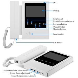 Image 2 - Проводной Домашний 4,3 дюймовый TFT видеодомофон, система дверного звонка, RFID камера с монитором 2/3/4, домофон для нескольких квартир, разблокировка ключей EM