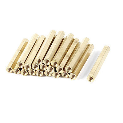 20 Pieces M4 Female Threaded PCB Brass Standoff Spacer 50mm High Gold Tone M4x50 m4 male m 25 30 35 40 45 50 55 60 mm x m4 6mm female brass standoff spacer copper hexagonal stud spacer hollow pillars