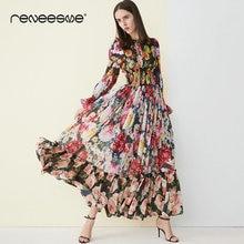 2019 new lace dress for women long flare sleeve ruffles neck pleated vintage maxi dresses print chic elastic waist vestidos