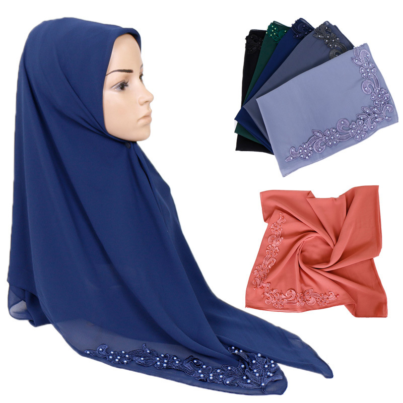 Embroidery Flower Muslim Woman Headscarf Pearl Chiffon Shawl And Wrap Hijab Square Scarf Femme Musulman Islam Turban Foulard