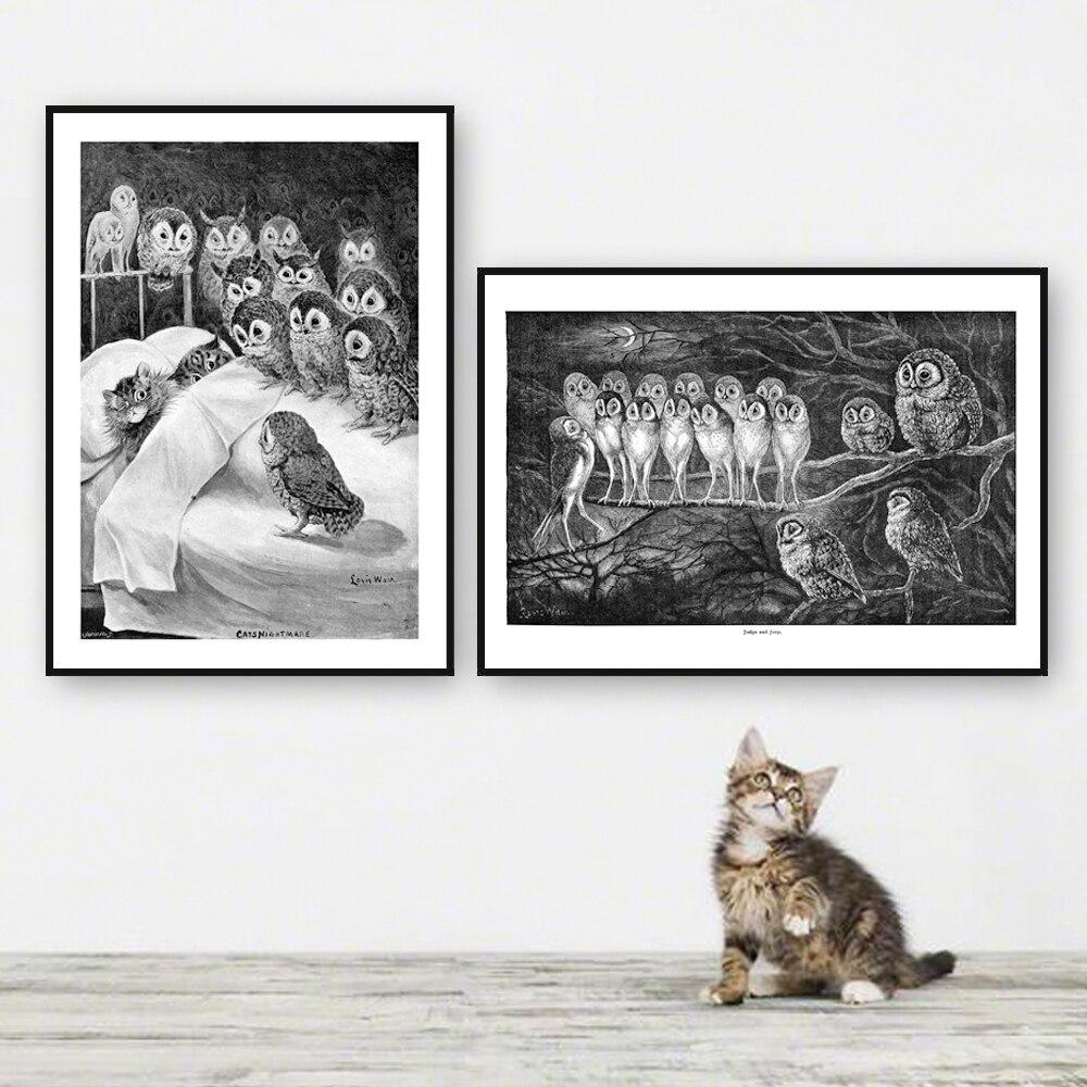 Classic super narrow aluminum A3 poster frame + Louis Wain 2 art pieces /metal wall framed art /certificate frame 29.7*42 cm