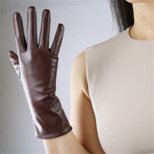 Medium-Length Style Simulation Leather Gloves Ladies Elegant 28cm Bright Black Silk Lining Multi-Color TB39