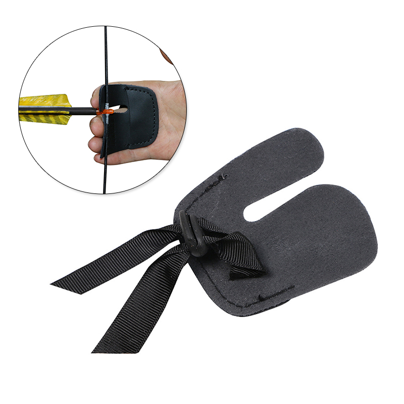 Durable Black Leather Archery Accessory 2 Fingers Glove Tab Protective Pads