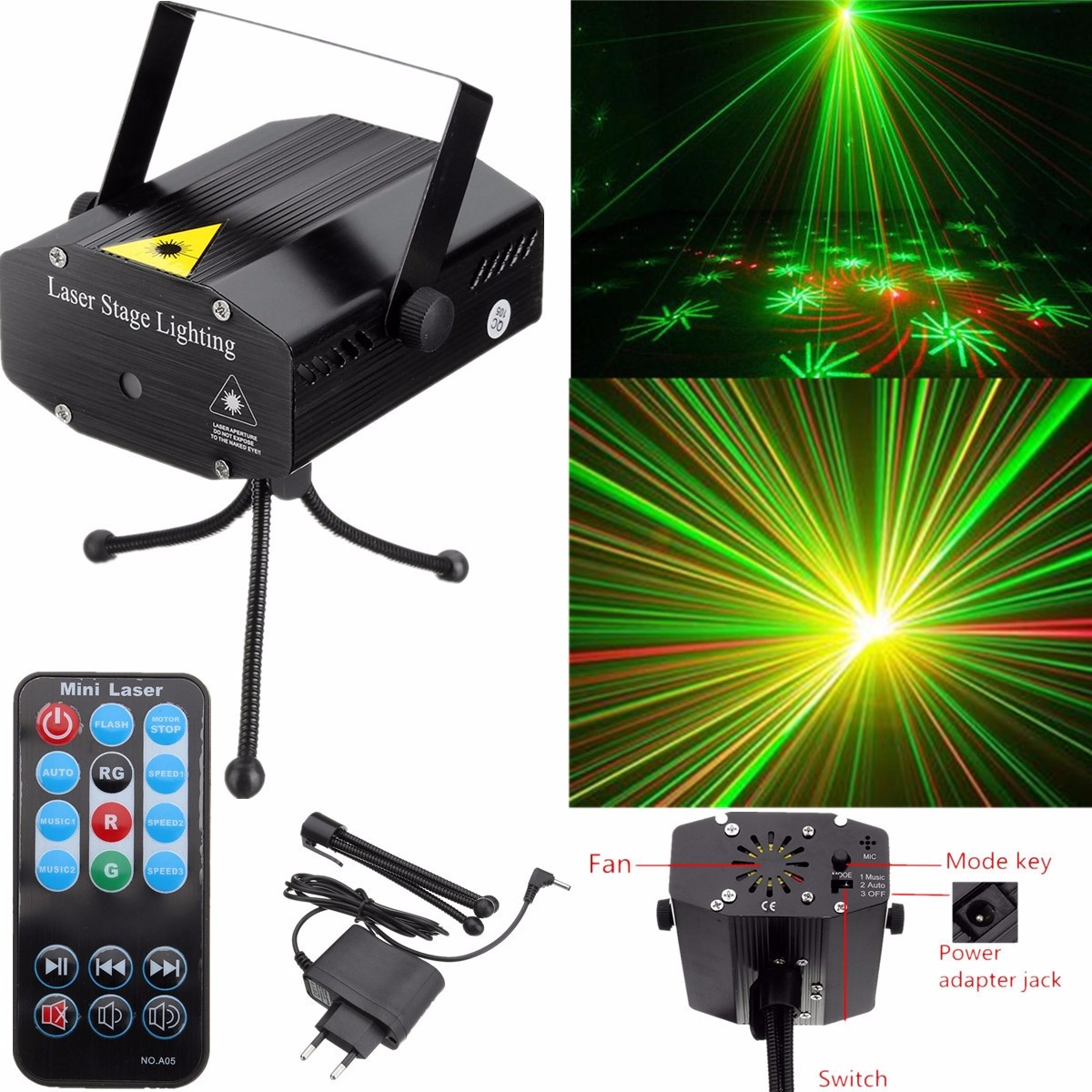 Projector Effect Lamp Led Disco Light  Lights DJ Disco Laser Light KTV Music RGB Christmas Party Remote/Sound Controll
