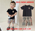 new 2016 Summer Plaid children clothing sets baby boy set short Plaid O-neck sets baby suit baby sets 2-7 years