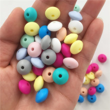 Chenkai 100pcs 12x7mm BPA Free Silicone Lentil Beads DIY Baby Abacus Teether Pendant Pacifier Jewelry Accessories pastel Color