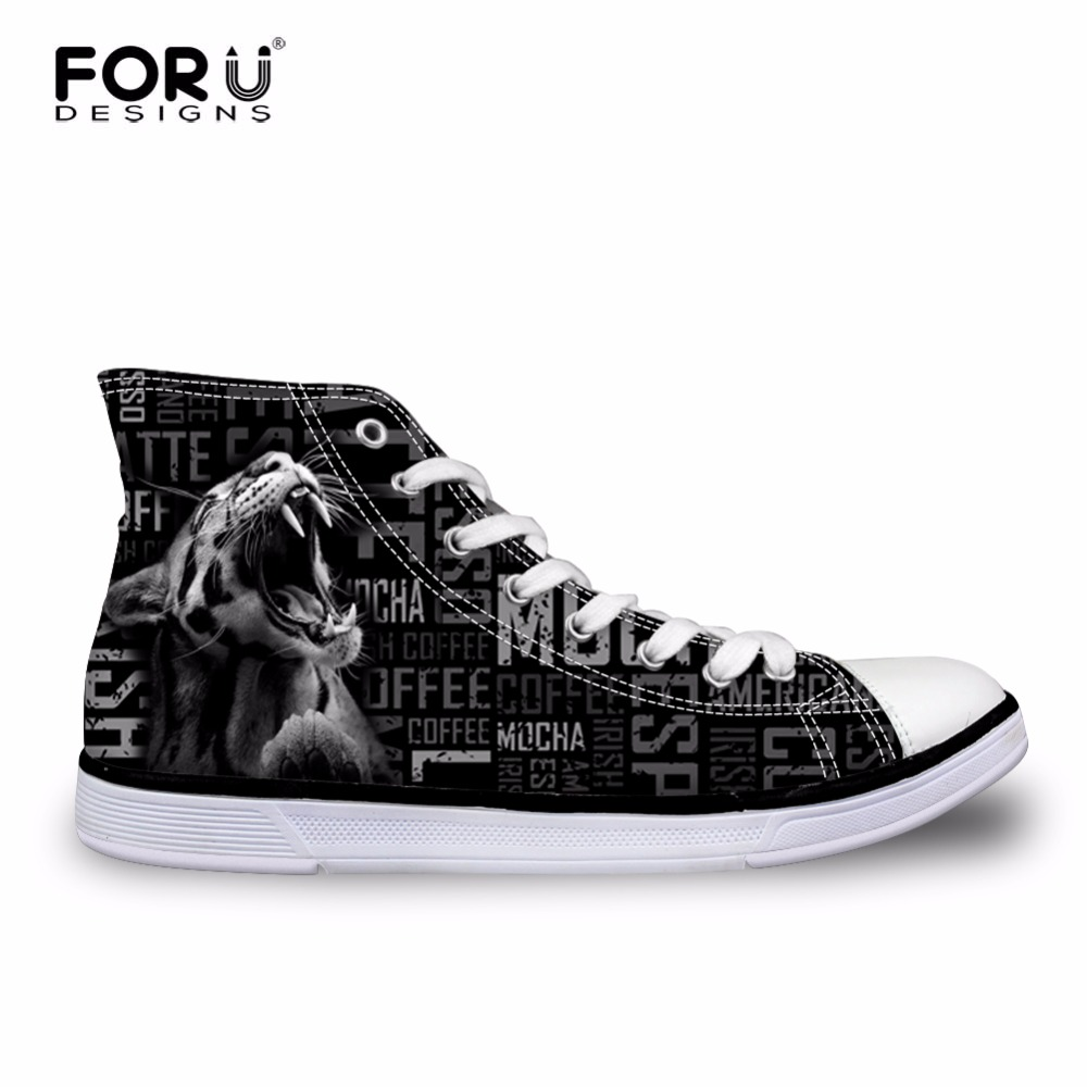 FORUDESIGNS Mens High Top Canvas Cool Black Tiger Head Printed Lace up Vulcanize Shoes Casual High