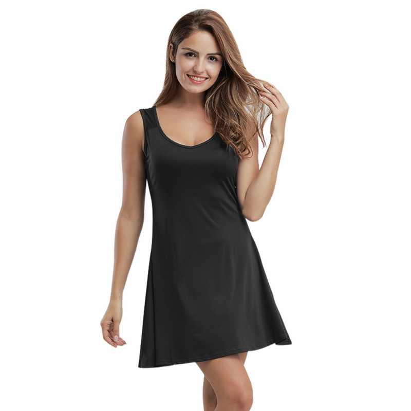 2018 Sexy Mouwloze Vrouwen Strand Jurk V-hals Vestidos Korte Rok Badmode Jurk Plus Size 5XL Wit Strand Tuniek Shirt zomer