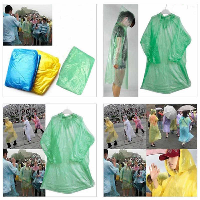 10 pcs 일회용 비옷 성인 비상 방수 후드 판쵸 여행 캠핑 비 코트 유니섹스 무작위 컬러 hx0721