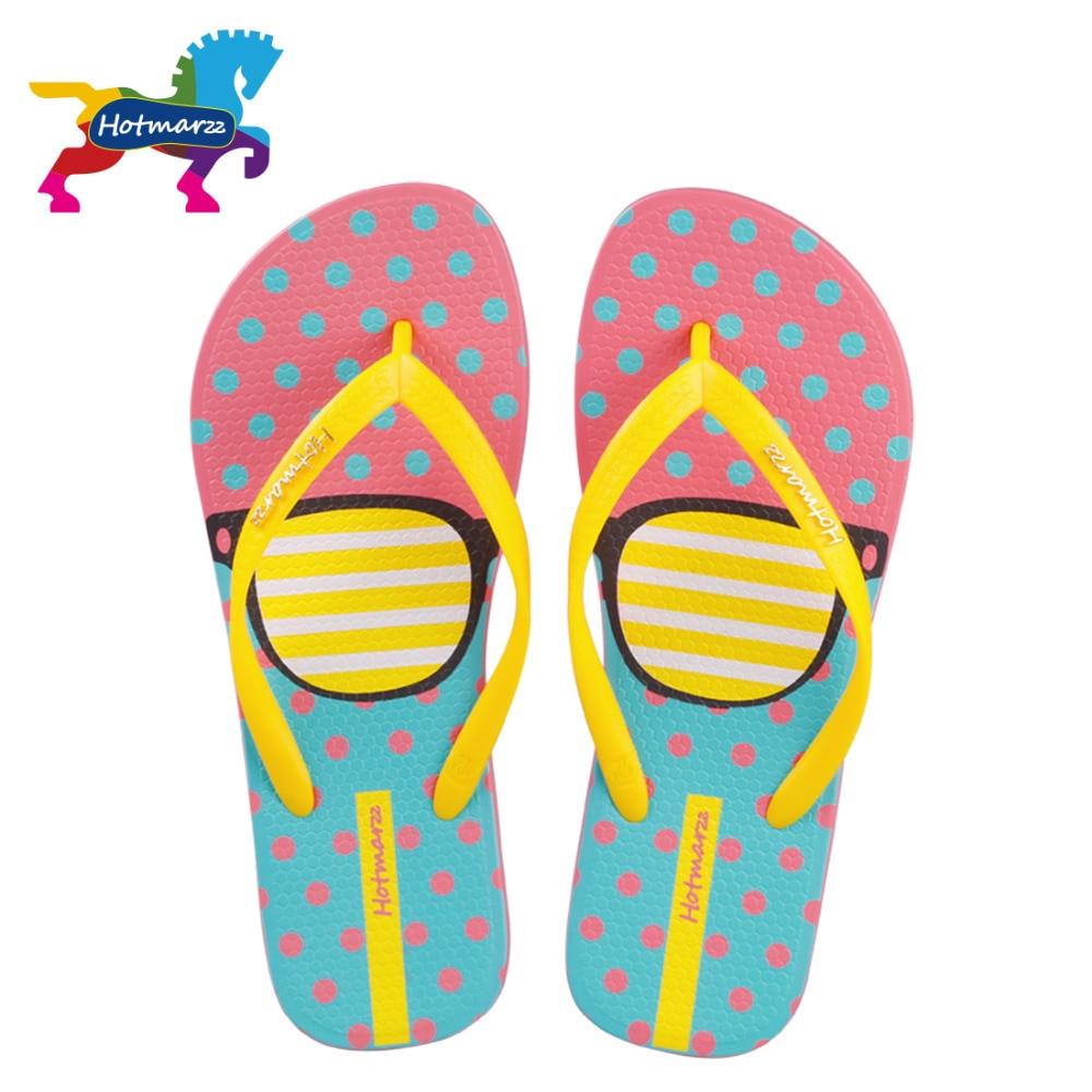 Hotmarzz女性ファッションフリップフロップビーチスリッパ夏の家の靴女性フラットサンダルメガネプリント女性ホームスリッパ