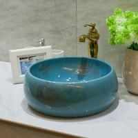 Bathroom above counter basin ceramic bathroom sink bathroom sink basin basin drum blue flowers LO620134