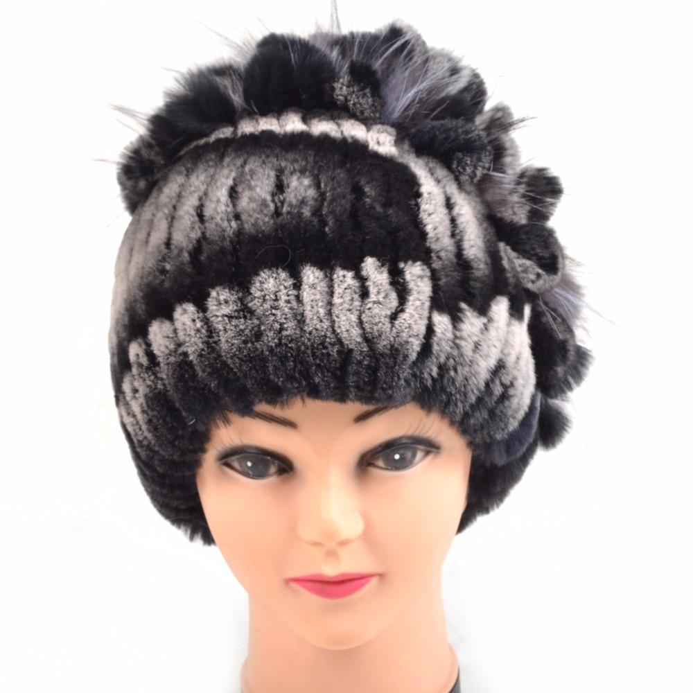 Knitted Hat 2016 Winter real Fur Beanies Headgear For Women With Rabbit Fur Luxury Ball Flower Cap Women's Customized Hat Beanie