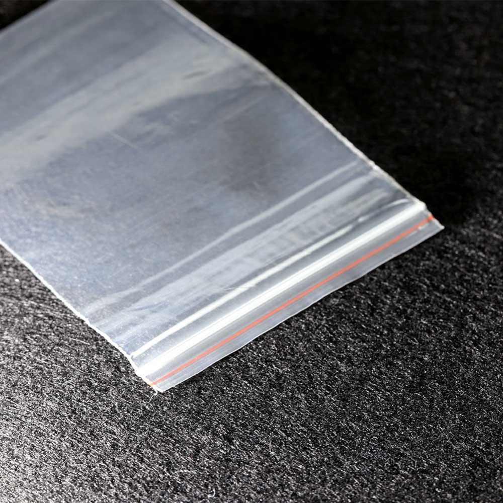 100 шт./компл. ясно многоразовая застежка Пластик пакет с застёжкой Пластик упаковки мешочек для ювелирных украшений сумки с молнией 0,05 мм Толщина