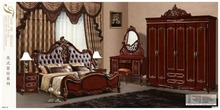 modern european solid wood bed Fashion Carved leather french bedroom set furniture king size HC0012