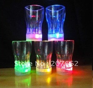 Free shipping 48pcs/lot 165ML/5.8OZ LED Auto-Light-Up Drink Flashing Acrylic Cola Beer Barware Glass Romantic Gifts