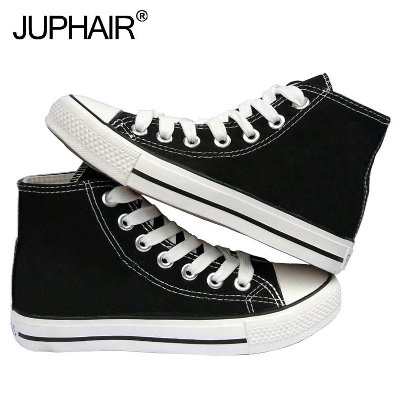 JUP Shoes Men Mans Boy Girls Unisex High Top Low Black Canvas Flats Shoes Color Laces Shoelace Sales Tenis Feminino Espadrilles