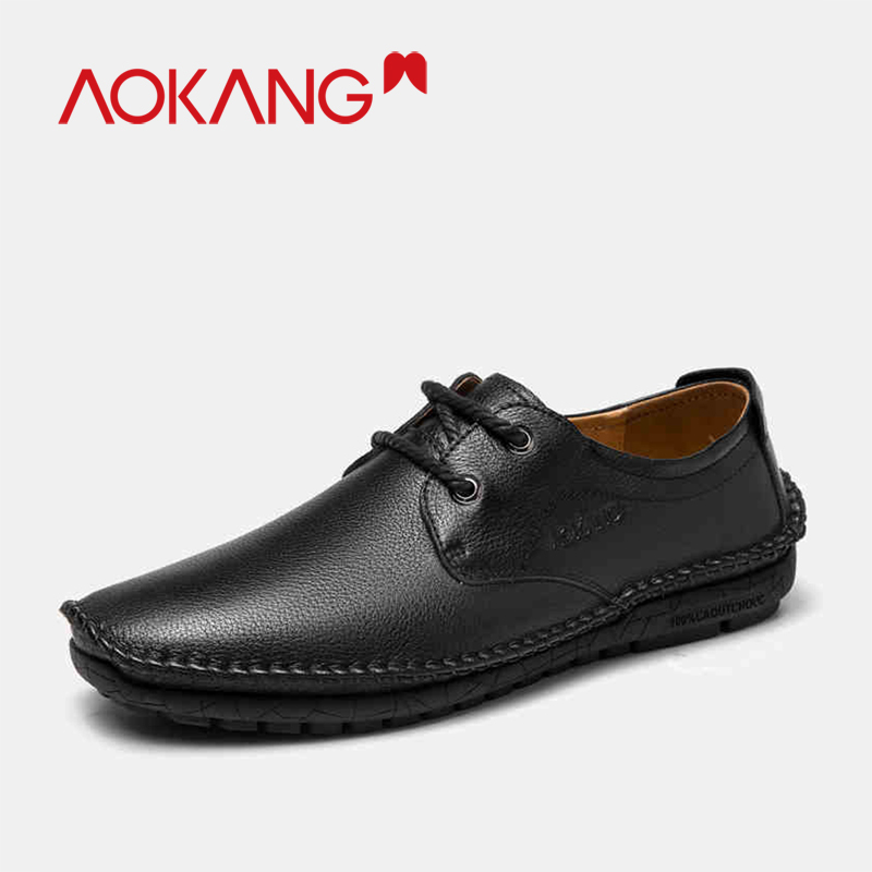 AOKANG 2019 Men casual Shoes genuine leather style flat lace up men shoes
