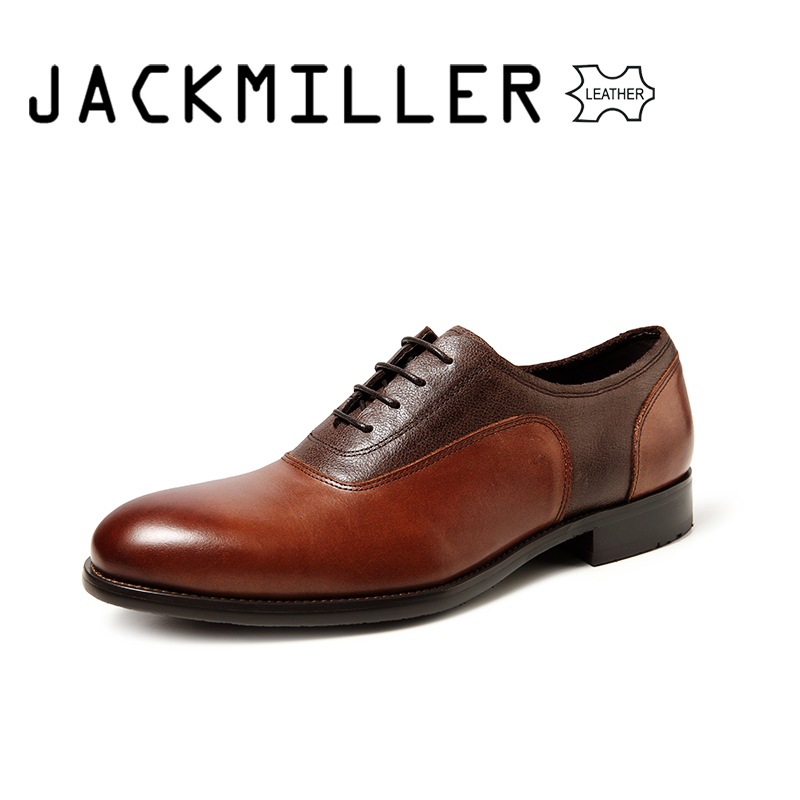 Jackmiller Top Brand Men Dress Shoes Genuine Leather Formal Business Men Shoes Wedding Party Large Size