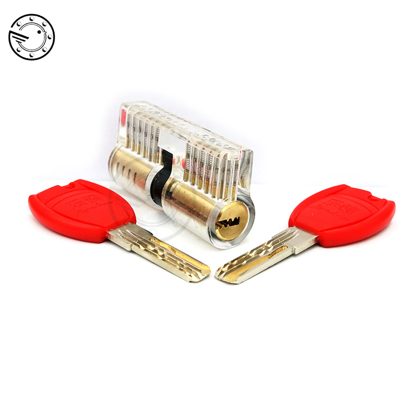 Cutaway Inside View Practice Transparent Padlock Lock Training Skill Pick Padlock For Locksmith Hardware With Super Red KeysCutaway Inside View Practice Transparent Padlock Lock Training Skill Pick Padlock For Locksmith Hardware With Super Red Keys