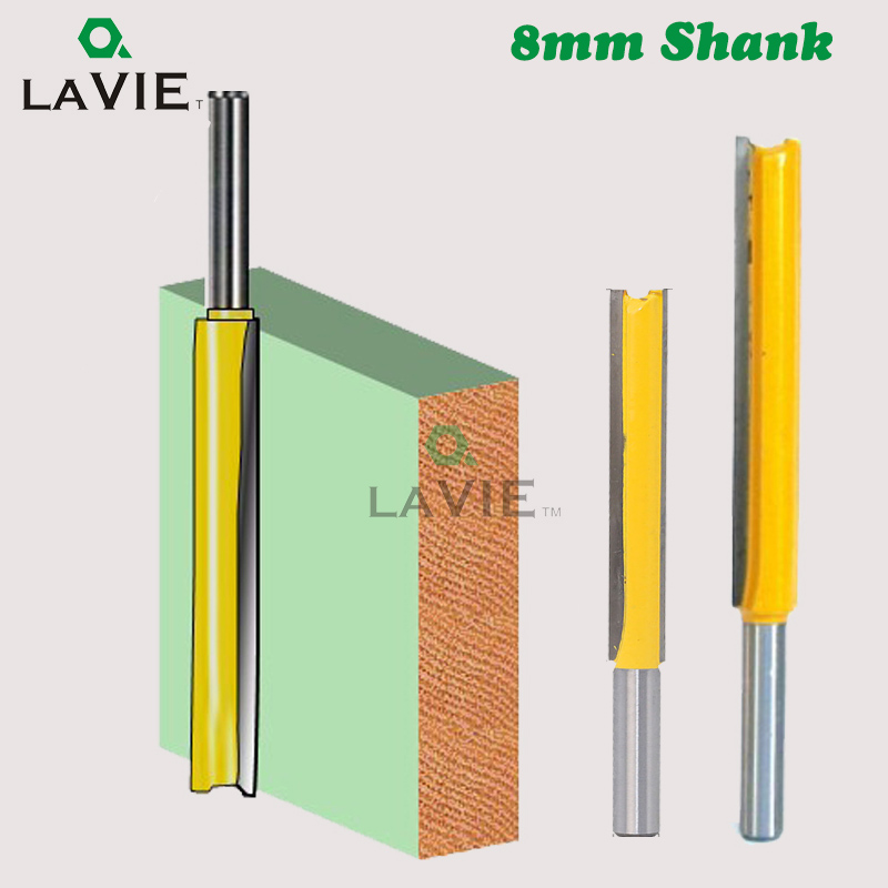 LA VIE 8mm Shank 50mm 77mm Long Straight Router Bit 1/2 Milling Cutting Diameter Edge Woodworking Trimming Cutter Knife MC02009