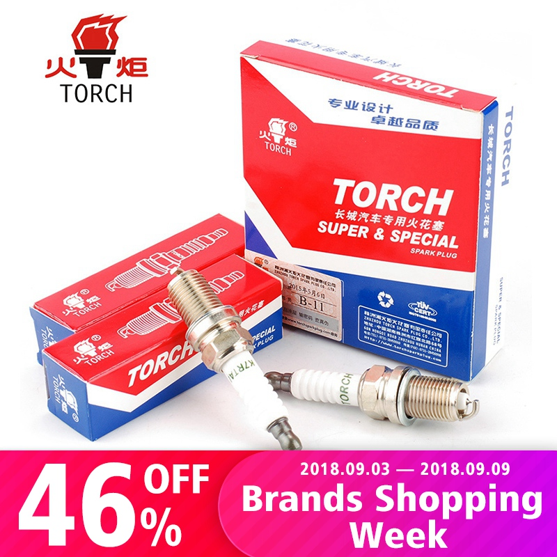 4packs / 6packs Kina original TORCH tändstift FR7KPP332 / IZFR6H11 / IK20TT / RC8WMPB4 / K7RTAI