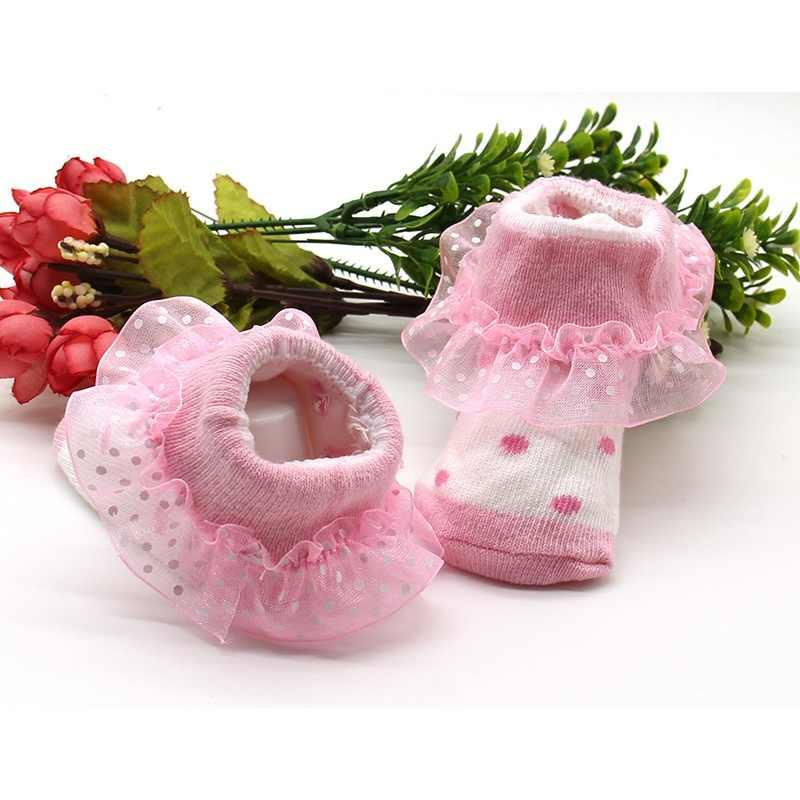 תינוק גרבי יילוד Bowknots גרבי תינוק בנות 1 זוג תחרה פרחוני נעלי עבור 0-6 חודשים פעוטות תינוקות כותנה קרסול קשת גרבי Le