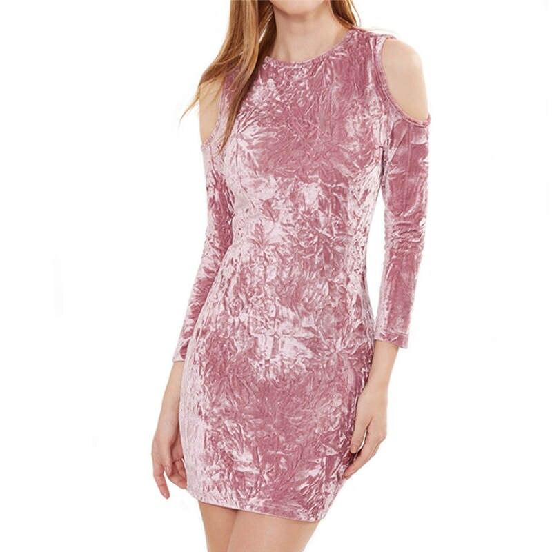 Moda de Las Señoras Midi Vestidos Hombro Pink Slip Terciopelo Plunge ...