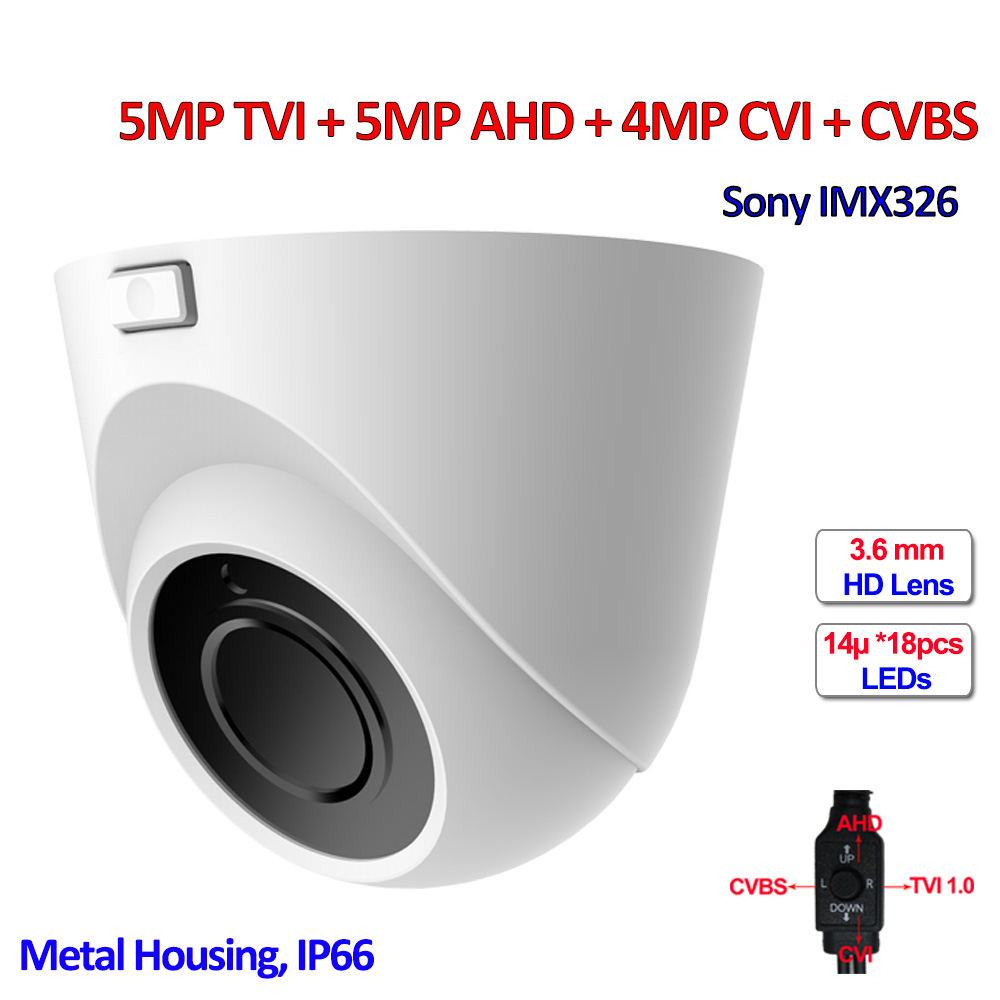 5MP TVI 4MP CVI 4MP AHD 960H 4 in 1 surveillance camera IMX326 sensor IP66 Security cameras, 3.6mm Lens, SMD IR LEDs, OSD, UTC 5mp tvi 4mp ahd cvi imx326 cmos security camera 4in1 surveillance cameras ir cut dnr utc osd varifocal lens smd ir leds