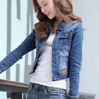 2019 Spring Summer Denim Jacket Women Long Sleeve Slim Light Washed Short Jeans Jacket Coats Plus Size 3XL E945
