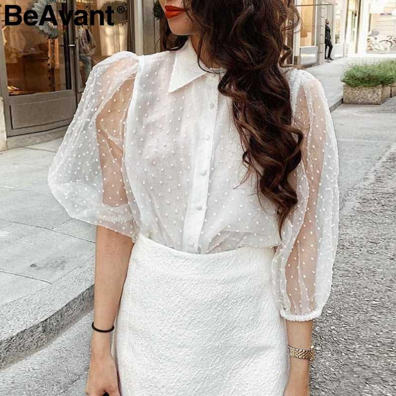 BeAvant الأبيض شبكة الإناث بلوزة شيفون قميص أنيق أزرار طويلة الأكمام الصيف بلوزة المرأة بلوزة حجم كبير بلوزات السيدات الموضة