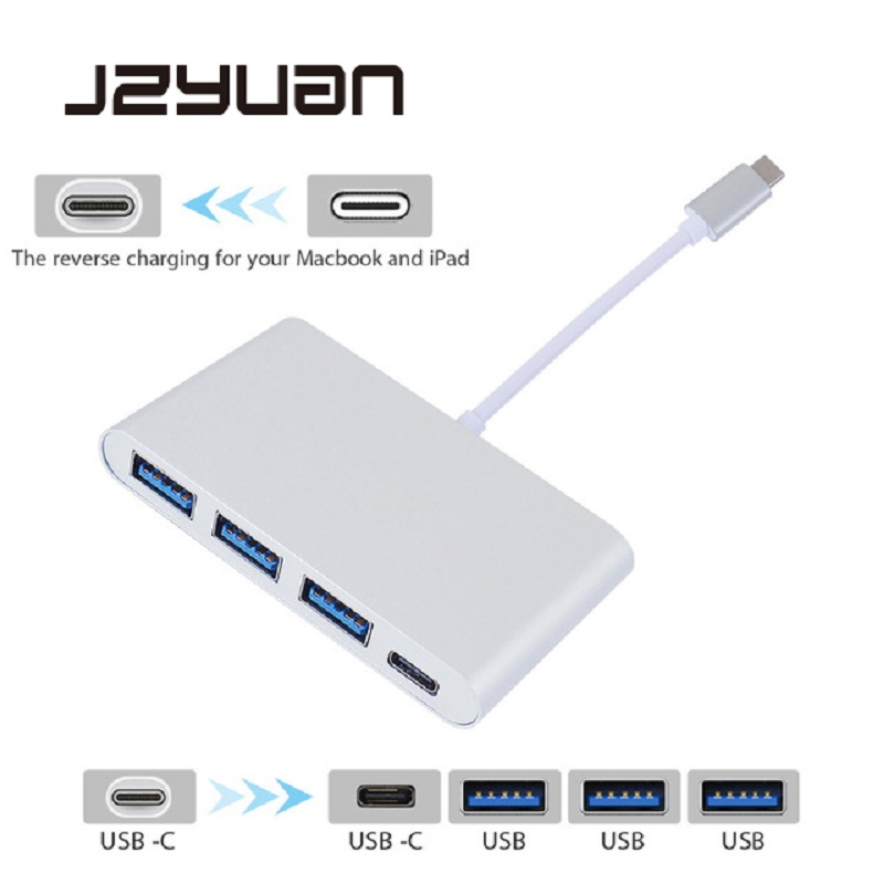 JZYuan USB C Type C 3.1 Hub to Type C PD Power Delivery Charging/ USB 3.0 3 Port USB 3.0 Hub Splitter Adapter for Macbook DELL usb c charger power delivery qc 3 0 type c pd 3 port fast charger for new macbook samsung hp dell acer asus l
