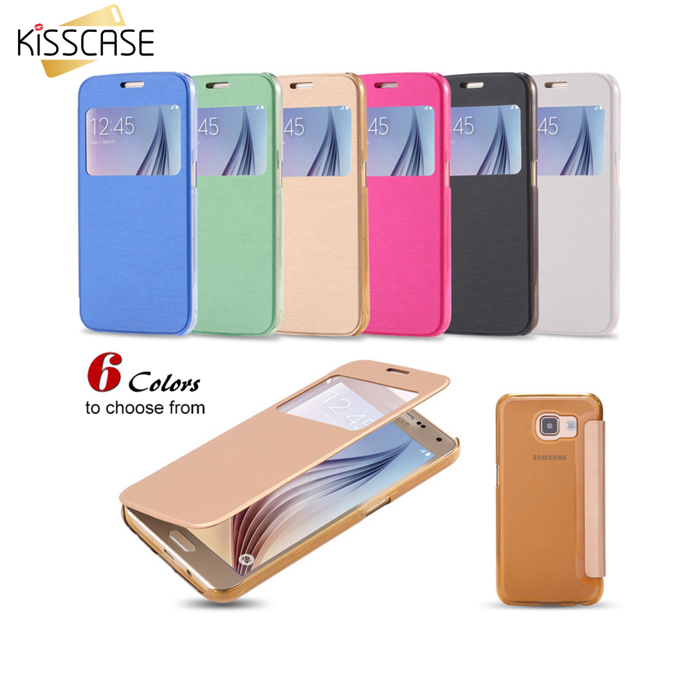 KISSCASE For Galaxy S6 S6 Edge S8 /S8 Plus Cover Flip Leather Phone Cases For Samsung Galaxy S6 S6 Edge Plus S7 S7 Edge A8 Shell