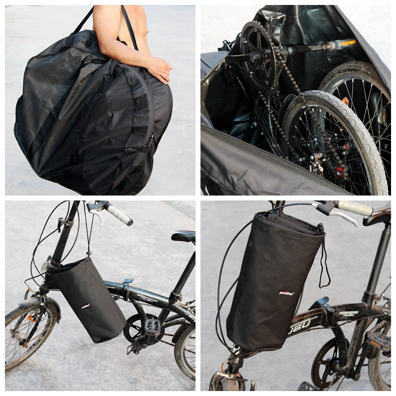 Roswheel 14 to 24 inches folding Bike Accessories Loading Bag Polyester Anti-tear Carrier Bicycle Carrying Bag With Receive Bag roswheel 11887 bike bicycle polyester pvc handlebar bag shoulder bag black red