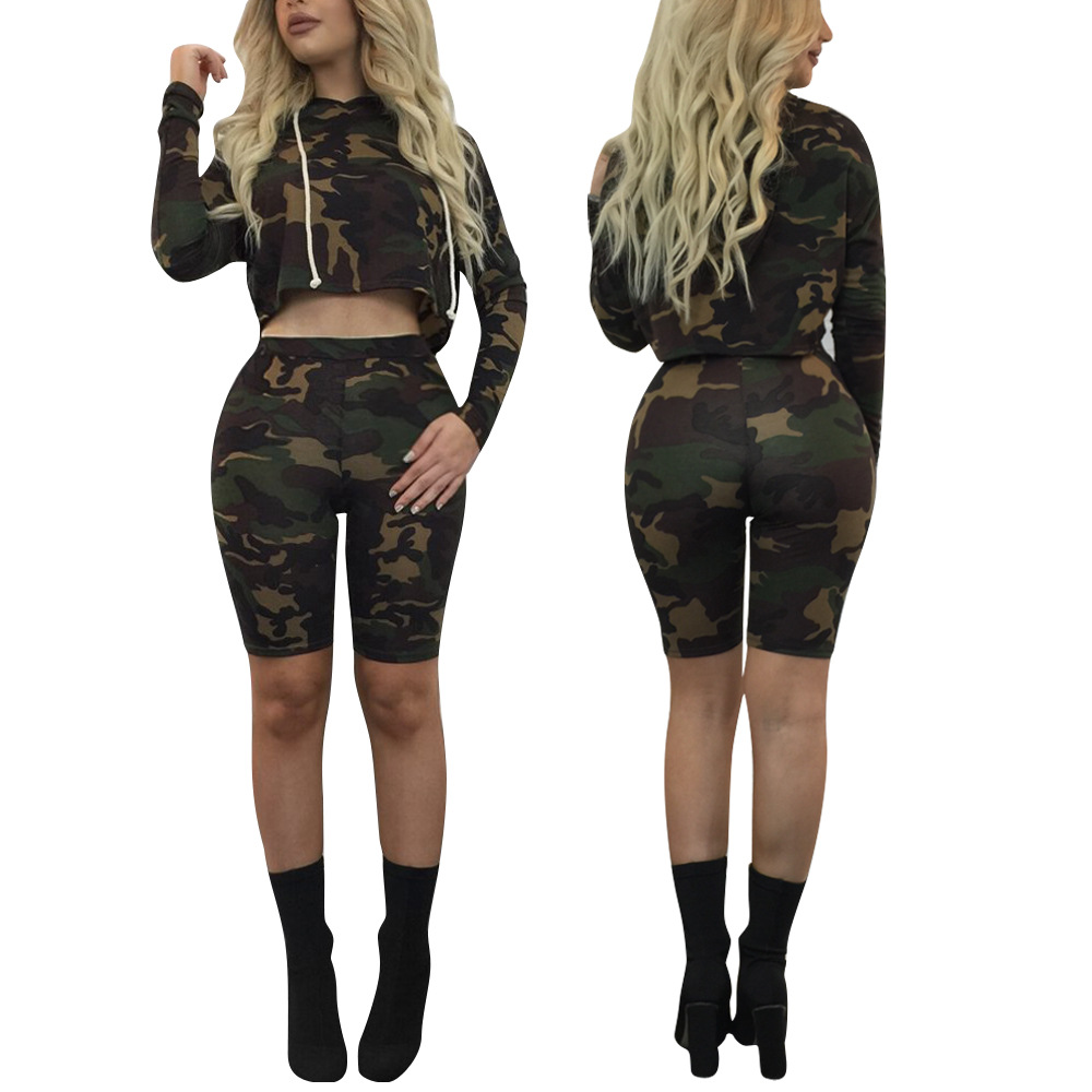 Fashion Camouflage Print Hoodies Suits Women Two Pieces Set Fashion Summer Playsuits