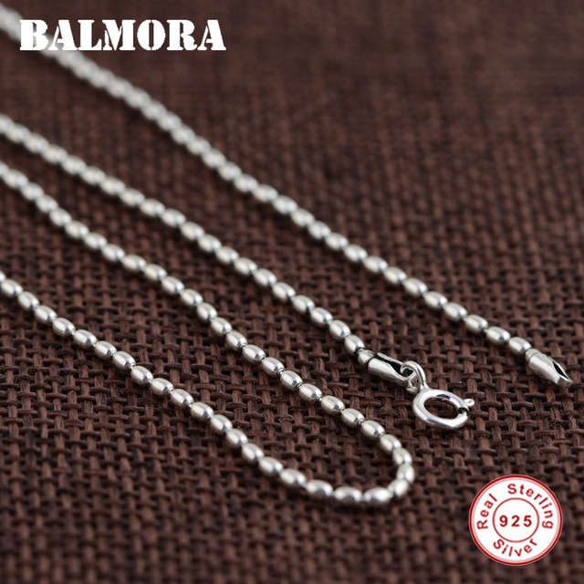 BALMORA 100% Real 925 Sterling Silver Jewelry Beads Necklaces for Women Men Silver Necklace 16-24 inch Accessories Gifts 0072