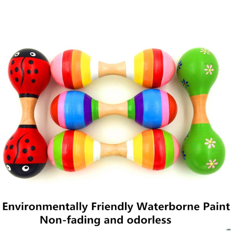 Double Head Colorful Wooden Maracas Baby Child Musical Instrument Rattle Shaker For Party Toy