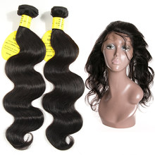 QueenLike Hair Products Brazilian Hair Weave Bundles Non Remy 2 3 Body Wave Bundles With Closure 360 Lace Frontal With Bundles(China)