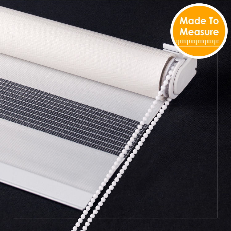 SCHRLING Zebra Fabric 100 polyster Roller Blinds For Windows Solid Color Double layer Curtains For Living