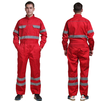 100% cotton red mechanic overalls men repairman work wear work clothes for men workwear with reflective stripes