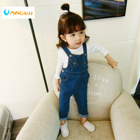 Girls Spring Overall Denim Overalls 1 4 Years Old Baby Casual Trousers Kids Bib Pocket Rivet
