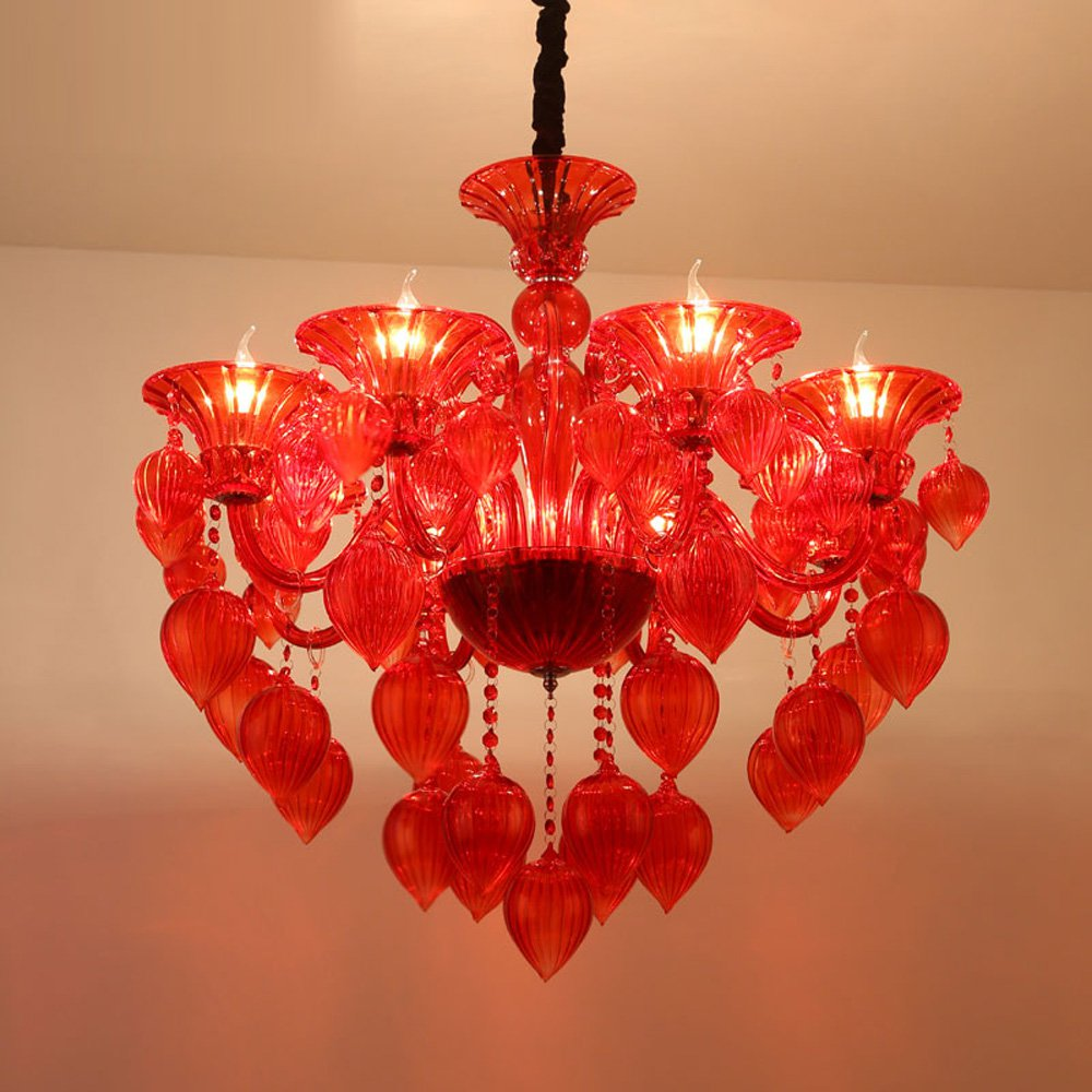 Mediterranean Glass Balloon Wedding Chandeliers Luxury Living Room Restaurant suspension light Total Bedroom drop Light