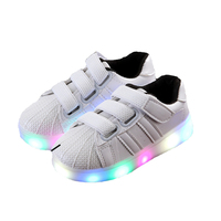 Children Flat Led Light Shoes Boy Girl Casual Kids Rubber Genuine Leather Baby Spring Rubber Skid